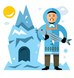 Smiling eskimo with fish flat style vector