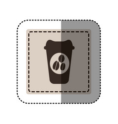 Sticker monochrome square with disposable coffee vector