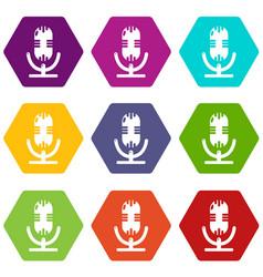 studio microphone icons set 9 vector image