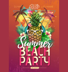 summer beach party disco poster with pineapple vector image