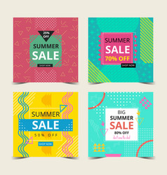 summer card collection with memphis style vector image
