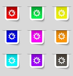 Sun icon sign Set of multicolored modern labels vector image