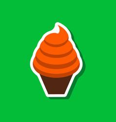 sweet dessert in paper sticker ice cream cone vector image