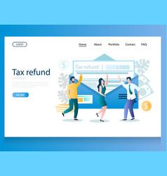 Tax refund website landing page design vector