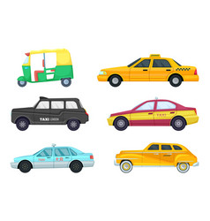 taxi cars in different cities transport for fast vector image