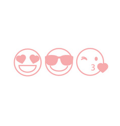 Three pink contour smileys vector