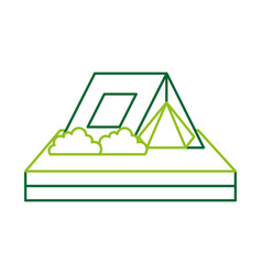 touristic camping tent bushes campsite vector image