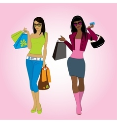 Two shopping girls vector