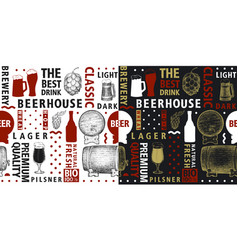 typographic beer seamless pattern or vector image