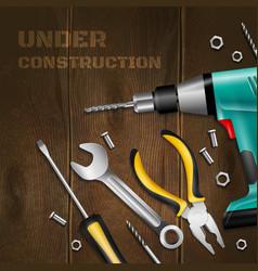 Under construction wooden background vector