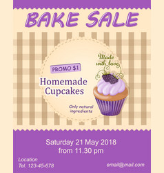 Violet bake sale promotion flyer with cupcake vector