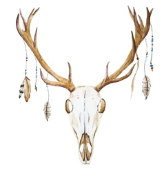 Watercolor deer head with wildflowers vector
