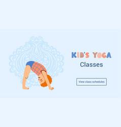 Web banner template kids yoga classes vector