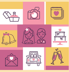 wedding icons banner vector image