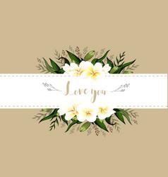wedding invitation card floral plumeria bouquet vector image