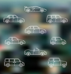 White outline various body types of cars icons set vector