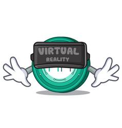 With virtual reality maker coin mascot cartoon vector