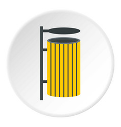 Yellow litter waste bin icon circle vector