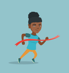 Young african sportswoman crossing finish line vector