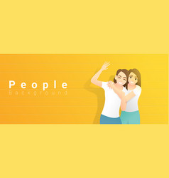 young happy women standing on yellow background vector image