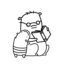 Bears reading a book outline coloring page vector image