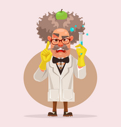 crazy scientist man character holding flask vector image