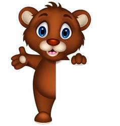 cute baby brown bear cartoon posing with blank sig vector image vector image