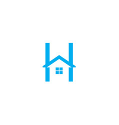 letter h logo with home icon vector image