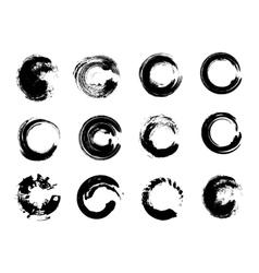 Set of Black Grunge Circle Stains vector image