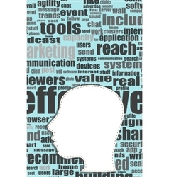silhouette of his head with the words on the vector image