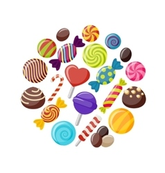 Sweet Candies Flat Icons Set vector image vector image