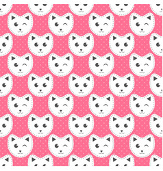 white cats on pink background with dots vector image