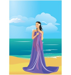 wrapped in a towel on beach vector image vector image