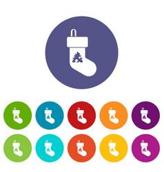 christmas sock set icons vector image