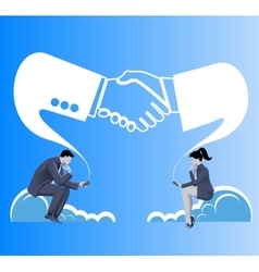 Deals are made in cloud business concept vector image