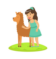 girl standing on green grass and petting fluffy vector image vector image