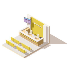 Isometric low poly hospital reception vector