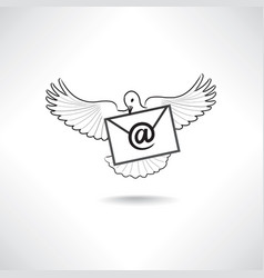 Mail icon e-mail symbol with flying post dove vector