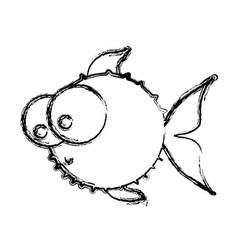 monochrome sketch of blowfish with big eyes vector image vector image