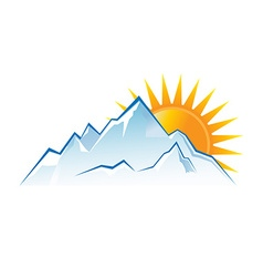 Mountains sunset logo vector
