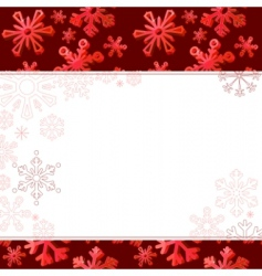 red frame with big snowflakes vector image vector image