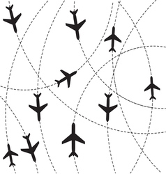 Airplane destination routes vector image