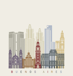 buenos aires v2 skyline poster vector image