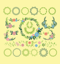 floral wreath decoration badge vector image vector image