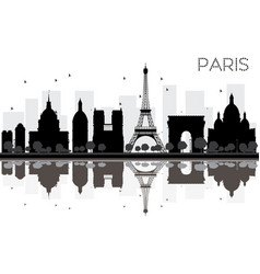 paris city skyline black and white silhouette vector image vector image