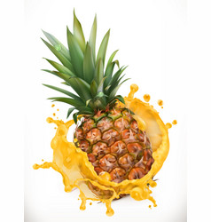 pineapple juice fresh fruit 3d icon vector image vector image