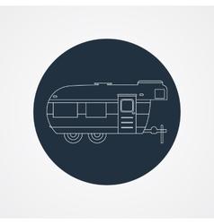 RV camping icon logo and badge Caravan on dark vector image vector image