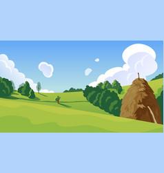 summer landscape with a haystack vector image vector image