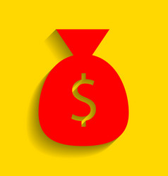 money bag sign red icon with vector image vector image