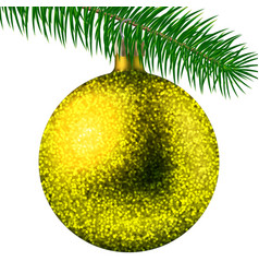 yellow christmas ball or bauble and fir branch vector image vector image